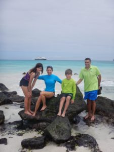 Traveling Party of 4 Family Picture on Galapagos Islands. Traveling with National Geographic Expeditions.