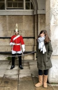 Daughter with horse guard London