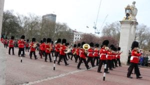 The new guards marching into Buckingham Palace.