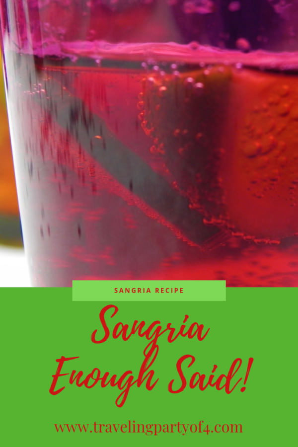 White Sangria with fruit, it is as easy as that. Combine these eight ingredients plus a super fun twist, and your guests will keep coming back for more.